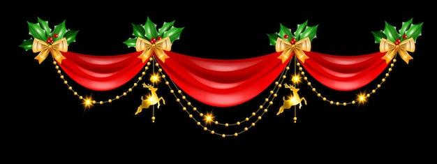 Noël vacances frontière vecteur rideau rouge cadre design décoration dorée guirlande renne jouet