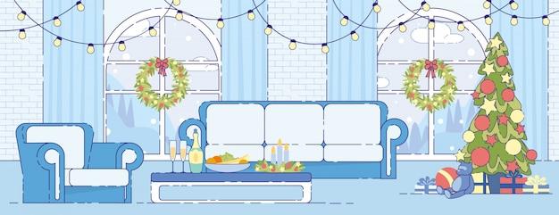 Noël vacances maison décoration intérieure plat vecteur