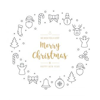 Noël voeux couronne icônes éléments isolé