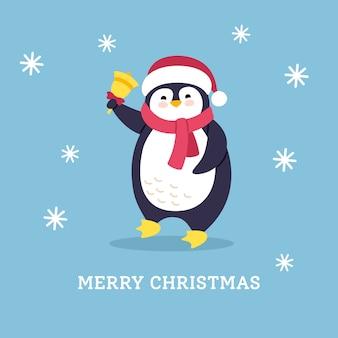 Noël de voeux de dessin animé de carte postale d'hiver. pingouin plat avec cloche. caractère animal de nouvel an. isolé