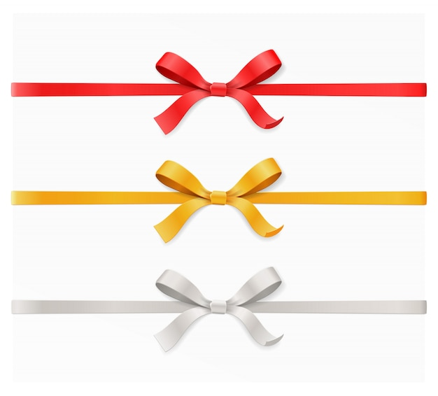 Noeud d'arc de couleur rouge, or, argent et ruban sur fond blanc. joyeux anniversaire, noël, nouvel an, mariage, carte-cadeau saint valentin ou concept de boîte. vue de dessus illustration gros plan