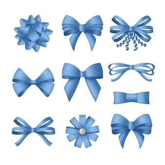 Noeud bleu décoratif avec des rubans.