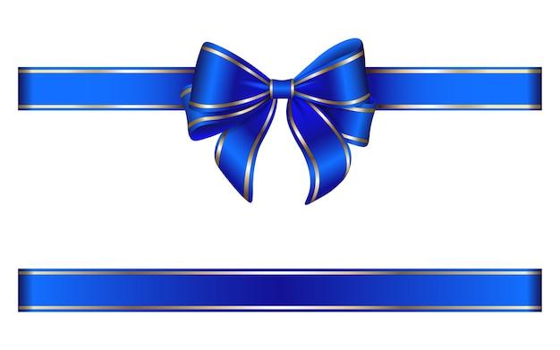 Noeud bleu et ruban avec bordure dorée