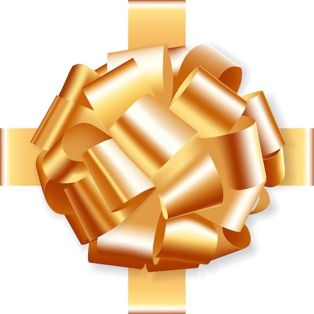 Noeud de cadeau doré festif