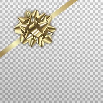 Noeud cadeau or, emballage réaliste de vacances de ruban doré
