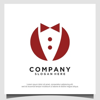 Noeud papillon costume de smoking gentleman fashion tailor clothing vintage classic logo design