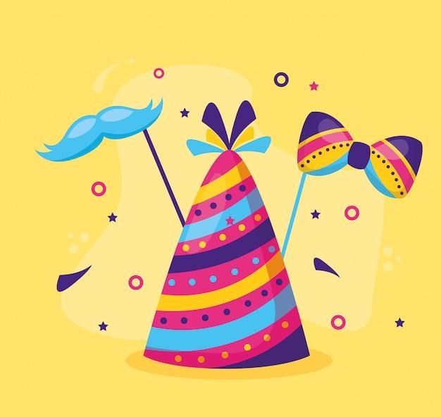 Noeud papillon de fête de chapeau de carnaval