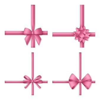 Noeud rose décoratif avec des rubans.