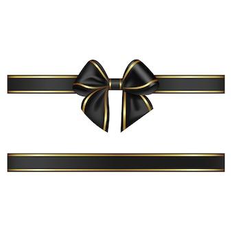 Noeud et ruban noirs avec bordure dorée