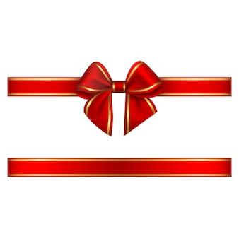 Noeud et ruban rouge avec bordure dorée