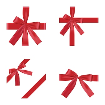 Noeud de vacances rouge sur fond blanc cadeau