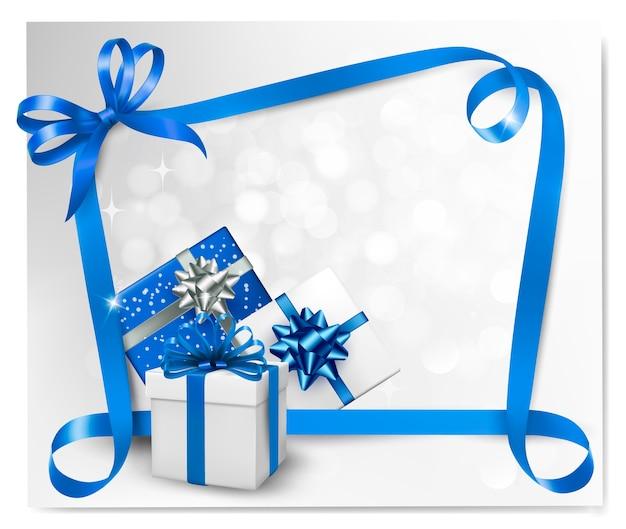 Noeuds cadeaux bleus avec des rubans bleus