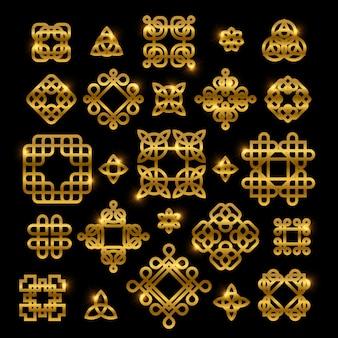Noeuds celtiques dorés avec des éléments brillants isolés