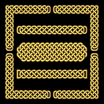 Nœuds celtiques dorés vector frontières et éléments de coin