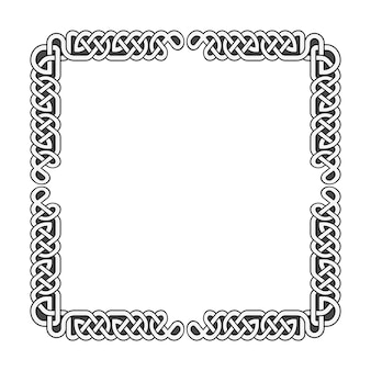 Noeuds celtiques vector cadre médiéval en noir et blanc