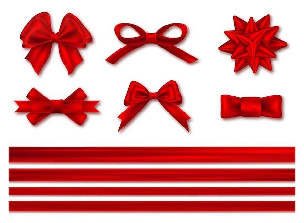 Noeuds avec jeu de rubans, décoratifs et festifs. ruban de satin festif de luxe réaliste