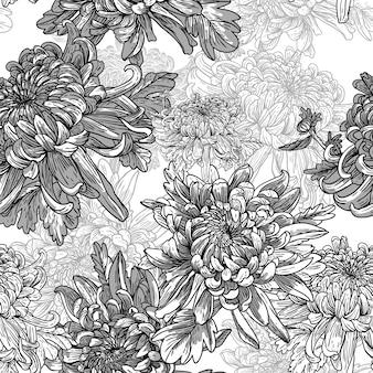 Noir et blanc avec des chrysanthèmes