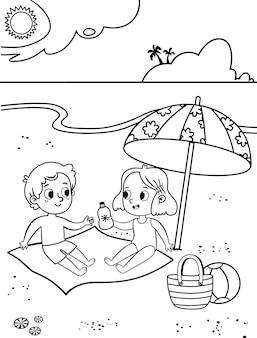 Noir et blanc deux enfants mignons s'amusant sur la plage tropicale page d'activité de coloriage pour les enfants