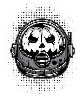 Noir et blanc fantôme citrouille astronaute casque monstre mascotte vector illustration