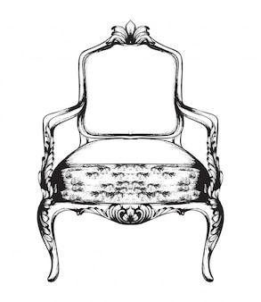 Noir et blanc. fauteuil baroque doodle rich