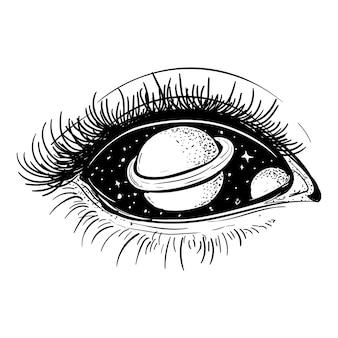 Noir et blanc illustration dessinée à la main espace extra-atmosphérique dans aye premium