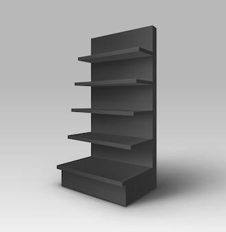 Noir blanc vide exposition commerce stand shop rack avec étagères vitrine isolé sur fond