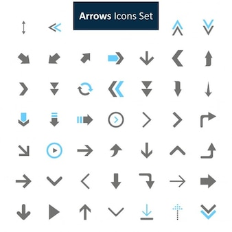 Noir et bleu arrows icons set