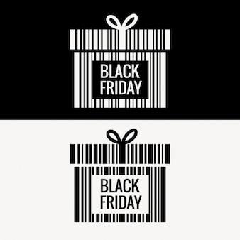 Noir boîte de cadeau avec code à barres vendredi fait