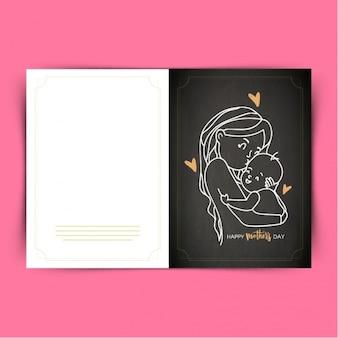 Noir carte de voeux de mère embrassant son bébé