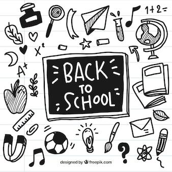Noir dessiné à la main vers les éléments de l'école