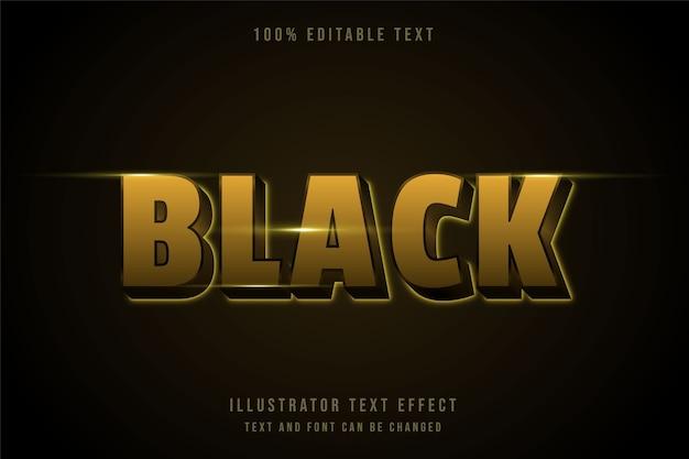 Noir, effet de texte modifiable 3d dégradé jaune style de texte néon noir
