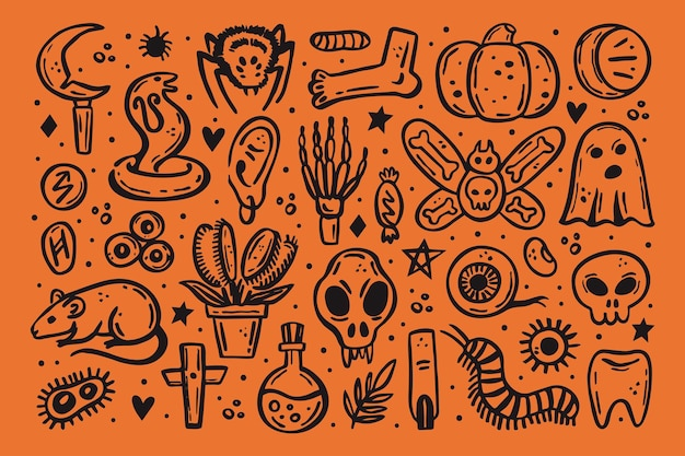 Noir effrayant encre vecteur halloween illustration crâne druide couteau insecte fantôme rat poison oeil