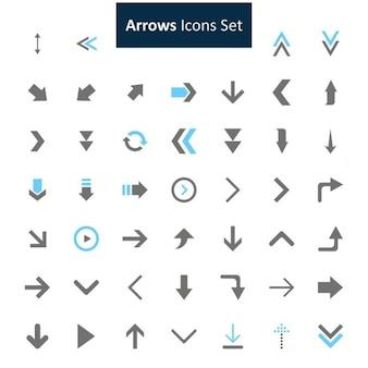 Noir et bleu Arrows Icons Set
