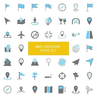 Noir et gris geo carte lieu icons set
