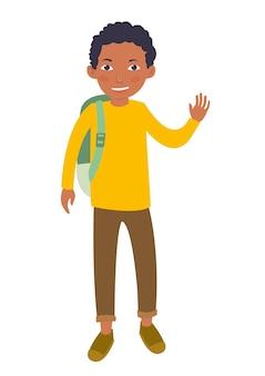 Noir jeune étudiant mâle agitant sa main