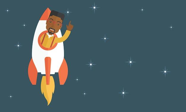 Noir jeune homme à l'intérieur de la fusée.