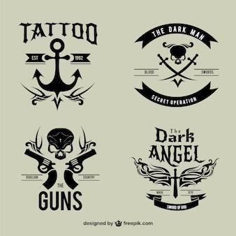 Noir logotypes de tatouage de cru