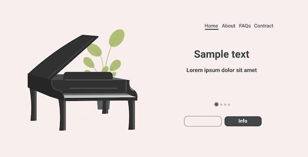 Noir piano à queue icône dessin animé instrument de musique horizontal