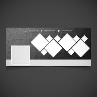 Noir polygonal timeline facebook bannière modèle
