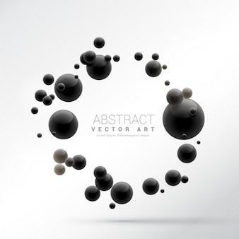 Noir sphères 3d fond frame