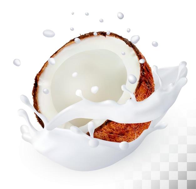 Noix de coco dans une éclaboussure de lait sur un fond transparent