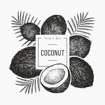Noix de coco avec design de feuilles de palmier. illustration de nourriture dessinée à la main. plante exotique de style gravé. fond tropical botanique rétro.