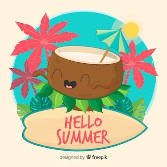 Noix de coco dessinés à la main, fond d'été hula