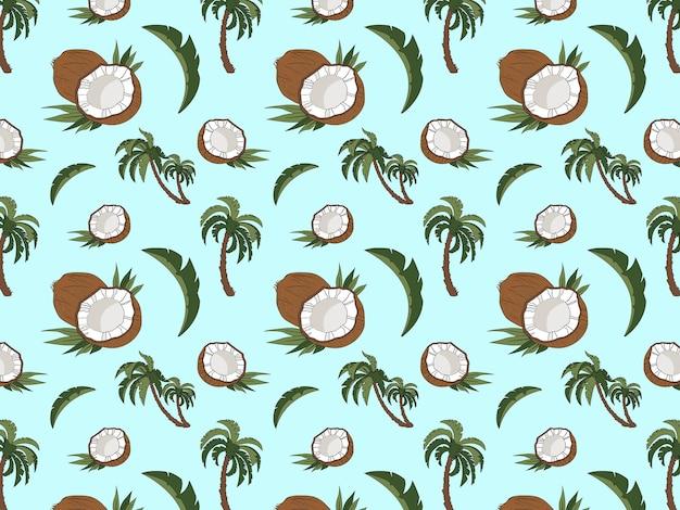 Noix de coco entière noix de coco moitiés deux palmiers