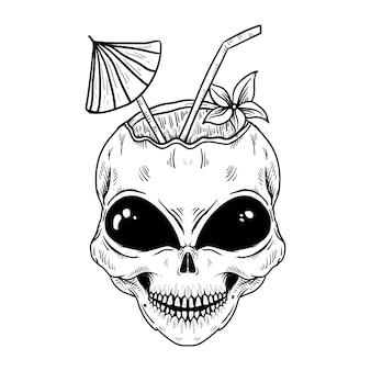 Noix de coco extraterrestre dessiné à la main isolé