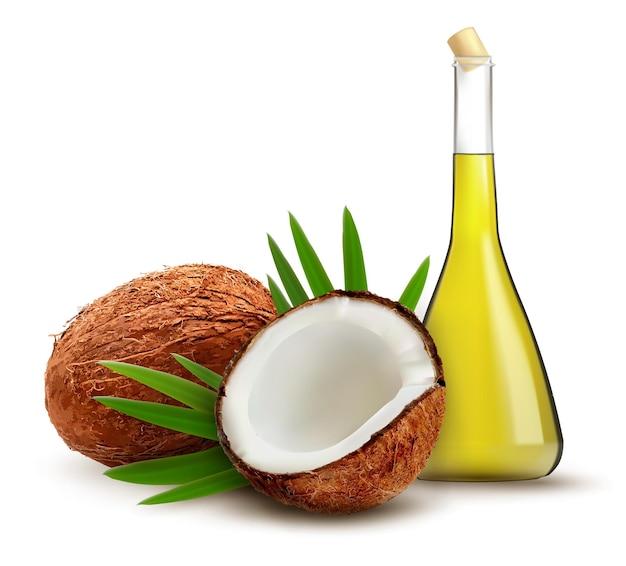 Noix de coco avec de l'huile.