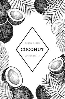 Noix de coco avec modèle de conception de feuilles de palmier. illustration de nourriture dessinée à la main. plante exotique de style gravé. fond tropical botanique rétro.