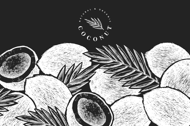 Noix de coco avec modèle de conception de feuilles de palmier