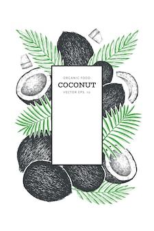 Noix de coco avec motif de feuilles de palmier