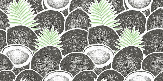 Noix de coco avec motif sans soudure de feuilles de palmier. illustration de nourriture dessinée à la main. plante exotique de style gravé. fond tropical botanique vintage.